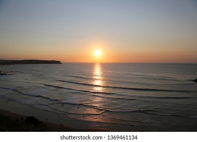 A sunset at Los locos beach in Suances, Spain.