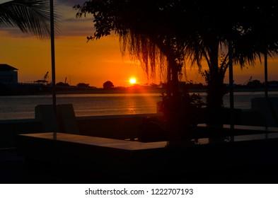 Sunset at Losari Beach Makassar Indonesia