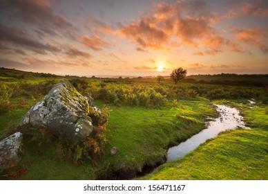 Sunset from the lower slopes of Sourton Tors Dartmoor National Park Devon Uk