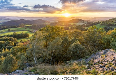 Sunset in the Lusatian Mountains