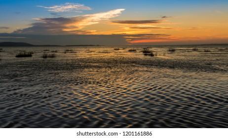 Sunset at Machynys beach Llanelli, Carmarthenshire, south Wales.