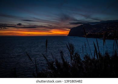 Sunset Madeira. Portugal. Vulcano Mountains.