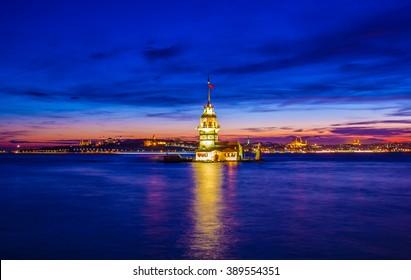 sunset maidens tower, istanbul, turkey