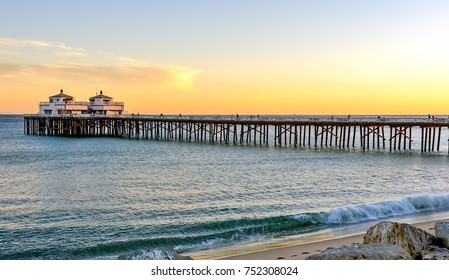 Sunset at Malibu pier and beach in Southern California