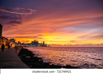 Sunset at the Malicon in Havana