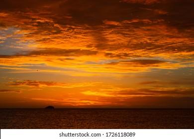 sunset at the manzanillo beach on the margarita island of the nueva esparta state in Venezuela