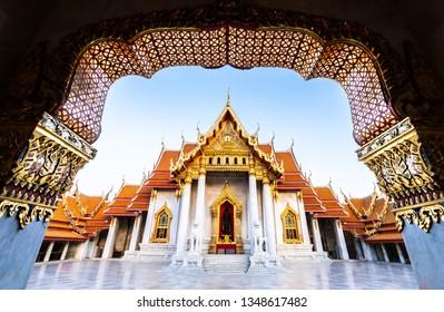 Sunset at Marble Temple, Wat Benchamabophit, Bangkok, Thailand