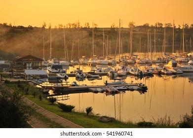 sunset in marina