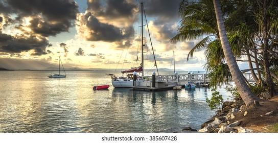 sunset marina Coral sea Port Douglas barrier reef