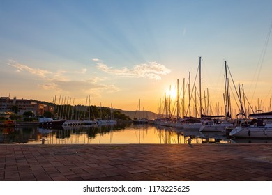 Sunset in marina in town of Izola, Adriatic coast, Slovenia