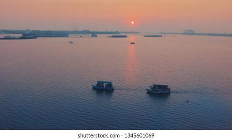 Sunset from the Marine Drive Kochi.