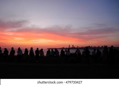 Sunset of Marine Drive in Mumbai, INDIA