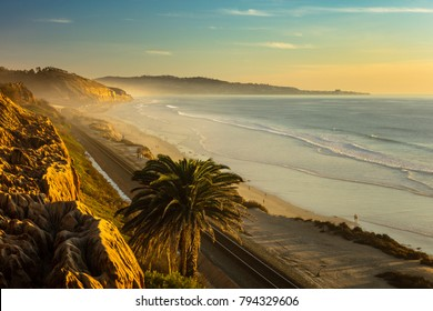 Sunset and marine layer at the Terry Pine beach, San Diego California, facing La Jolla city