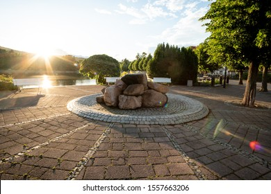 Sunset at the market square in the city of Ilsenburg