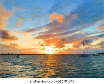 Sunset from the Marsh Harbour, in Bahamas.