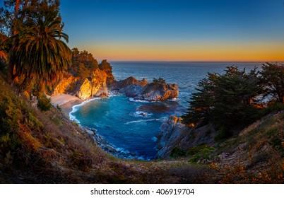 Sunset at McWay Falls, Julia Pfeiffer State Burns  Park, California