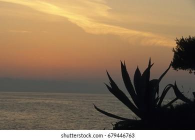 Sunset, mediterian sea, Cres, Croatia