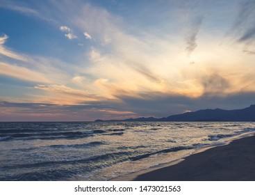 Sunset at the mediterranean beach