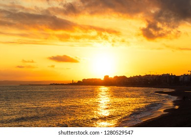 Sunset. Mediterranean Sea Sunset at Costa del Sol beach. Estepona, Malaga, Andalusia, Spain.