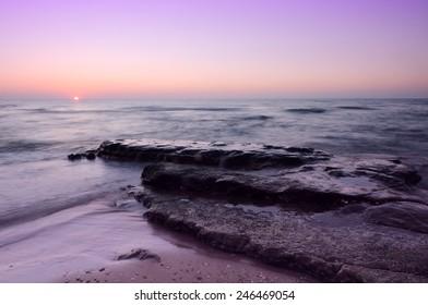 sunset at Mediterranean sea, Israel