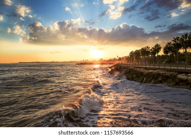 Sunset at the Mediterranean Sea in Mersin, Turkey. Mersin is a large city and a port on the Mediterranean coast of southern Turkey. It is part of an interurban agglomeration.