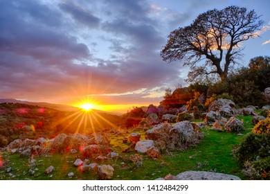 Sunset at Menemen mountains in Turkey