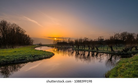 Sunset in Midden-Delfland, the area between Delft / The Hague and Rotterdam in the Netherlands.