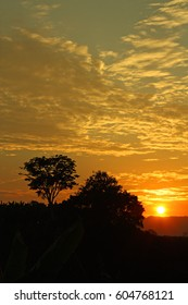 Sunset in the middle of the Colombian tropics. The Sierra Nevada de Santa Marta (Snowy Mountain Range of Saint Martha).