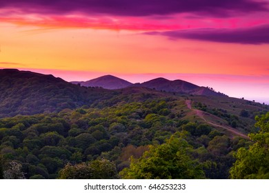 Sunset from Midsummer Hill Malverns on the Worcestershire and Herefordshire border one fine May evening