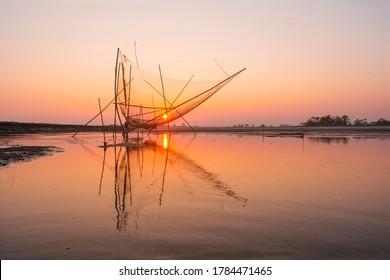 Sunset In mighty Brahmaputra, Majuli.