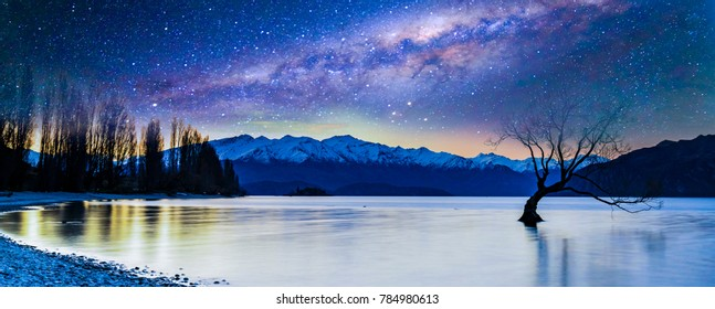 Sunset and milkyway background at Wanaka Lake, New Zealand