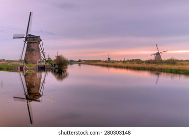 Sunset at the mills of Kinderdijk in the Netherlands