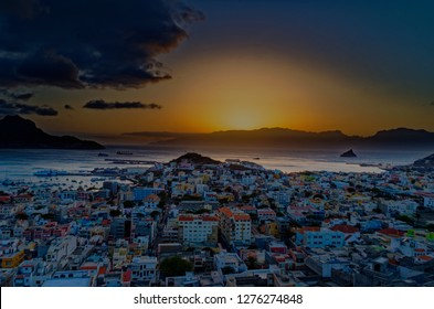 Sunset in Mindelo with view over the bay