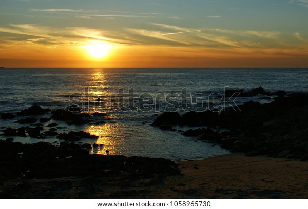 Sunset in Miramar beach, Portugal
