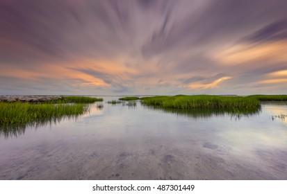 Sunset in Mitchellville Park Beach in Hilton Head Island, South Carolina