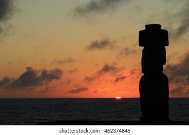 Sunset Moai at Easter Island