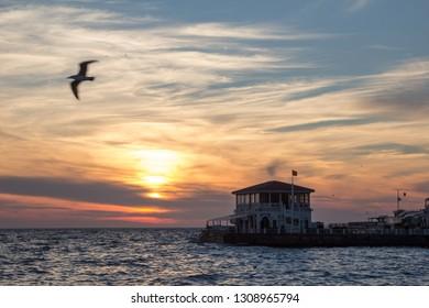 Sunset at Moda Pier in Kadikoy, Istanbul, Turkey