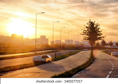 sunset at modern city street skyline landscape view of moscow city russia skolkovo district cityscape on summer evening with road bike lane benches residential building outdoor lifestyle background