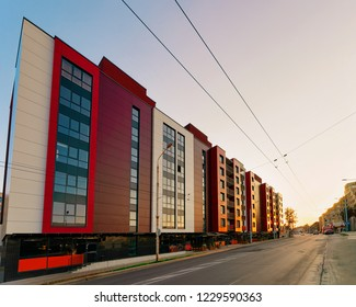 Sunset at Modern residential apartment house, and home building real estate concept. Outdoor residential facilities.