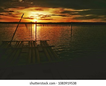 A sunset moment at it's peak golden hour in an oyster farm, Suman, Tuaran Sabah.