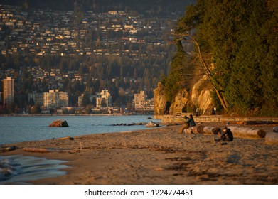 A sunset moment in Stanley Park Third Beach in Vancouver.