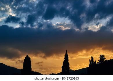 Sunset in Montenegro. Balkans, Adriatic Sea. European Summer Resort.