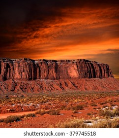Sunset Monument Valley Arizona site of many cowboy western movies