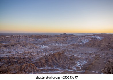 Sunset in moon valley at the Atacama desert, Chile