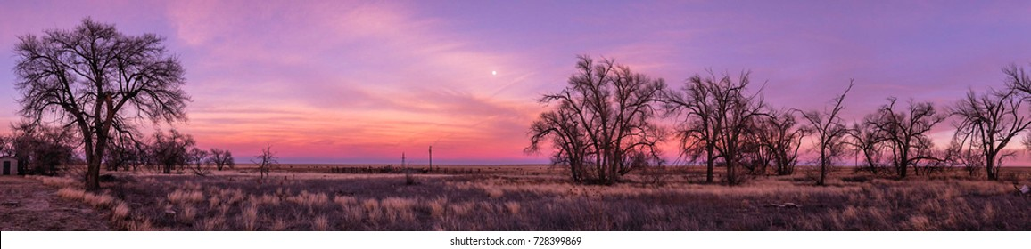 Sunset and moonrise at Rita Blance National Grasslands