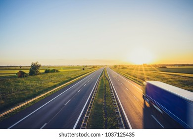 Sunset at Motorway highway Poland