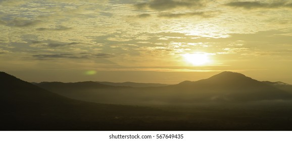 Sunset from mountain background landscape , Thailand.