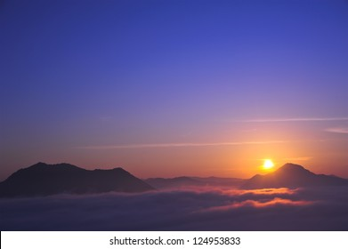 Sunset with mountain, chiangkhan of thailand