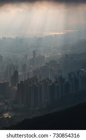Sunset mountain with cityscape in Hong Kong