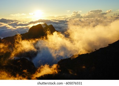 Sunset in the mountain with the fog at Doi Luang Chiang Dao national park in Chiang Mai, Thailand.